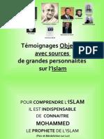 Témoignages objectifs avec sources de grandes personnalités sur l'Islam