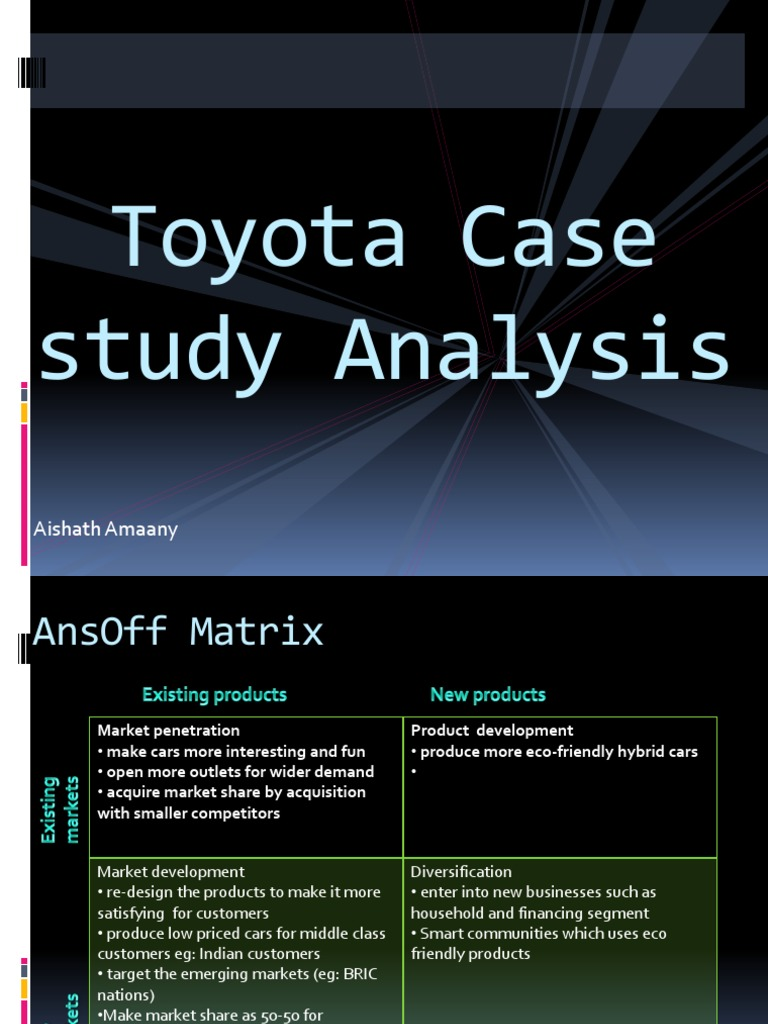 toyota case study case 4 toyota Page 1 of 2: diagnosing a toyota corolla misfire case study (toyota 18l) complaint: misfire started after doing a tune up road testing and checking for misfire codes doing a cylinder balance test testing the cause of a rough idle.