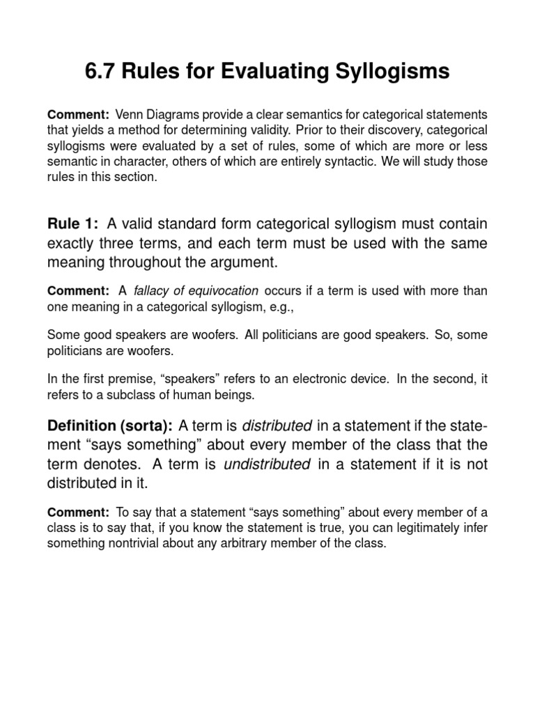 Rules of syllogism validity logic pooptronica