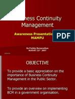 Business Continuity Management Awareness Presentation for Mampu2929