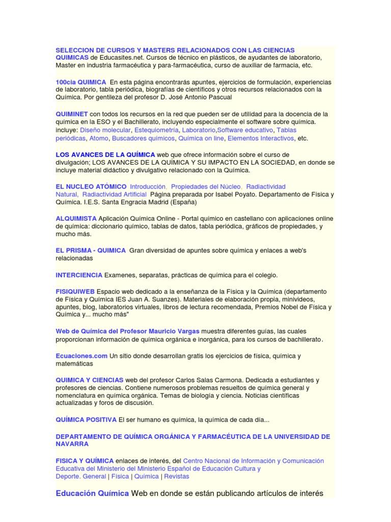 Seleccion de cursos y masters dos con las ciencias quimicas urtaz Gallery