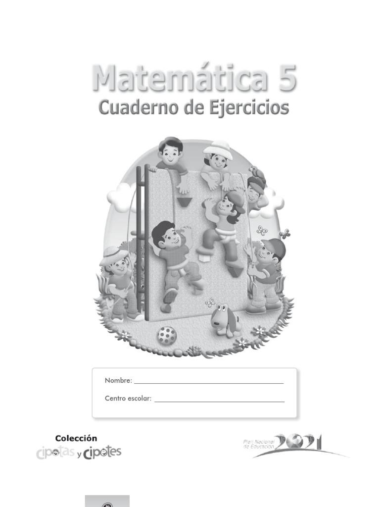MATEMATICAS 5o GRADO. CUADERNO DE EJERCICIOS