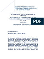 CLÁUSULAS APROBADAS DE LA VI CONVENCIÓN COLECTIVA NACIONAL AL 03 DE AGOSTO DE 2011
