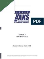 7th grade released taks 2009
