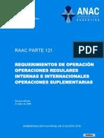 PARTE 121 - Requerimientos de operación, operaciones regulares internas e internacionales, operaciones suplementarias- Generalidades, Subparte A hasta Subparte J 1