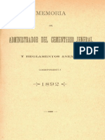 Memoria Del Administrador Del Cementerio General y Reglamentos Anexos, Correspondiente a 1892. (1893)