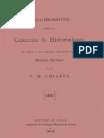 Noticias bibliográficas sobre la Colección de historiadores de Chile y documentos relativos a la historia nacional. 1905