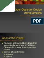 Full Order Observer Design Using Simulink