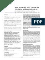 Correlation Between Instrumental Hand Function and Activities of Daily Living in Rheumatoid Arthritis