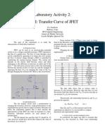 Lab 2 FET I Transfer Curve of JFET