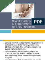 Clasificacion de Alteraciones en El Ciclo Menstrual