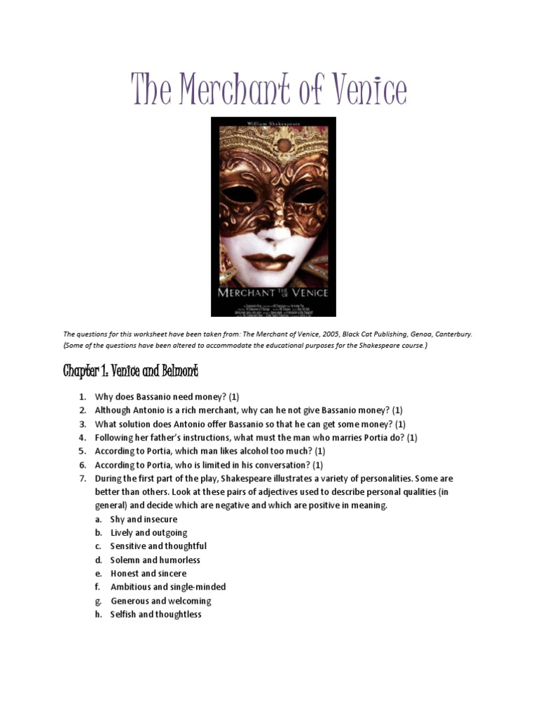 MERCHANT OF VENICE help!? in-class essay topic...?