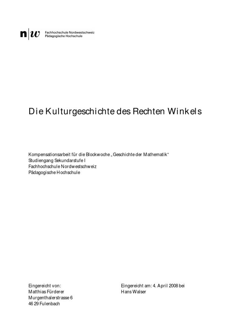 Kulturgeschichte Des Rechten Winkels