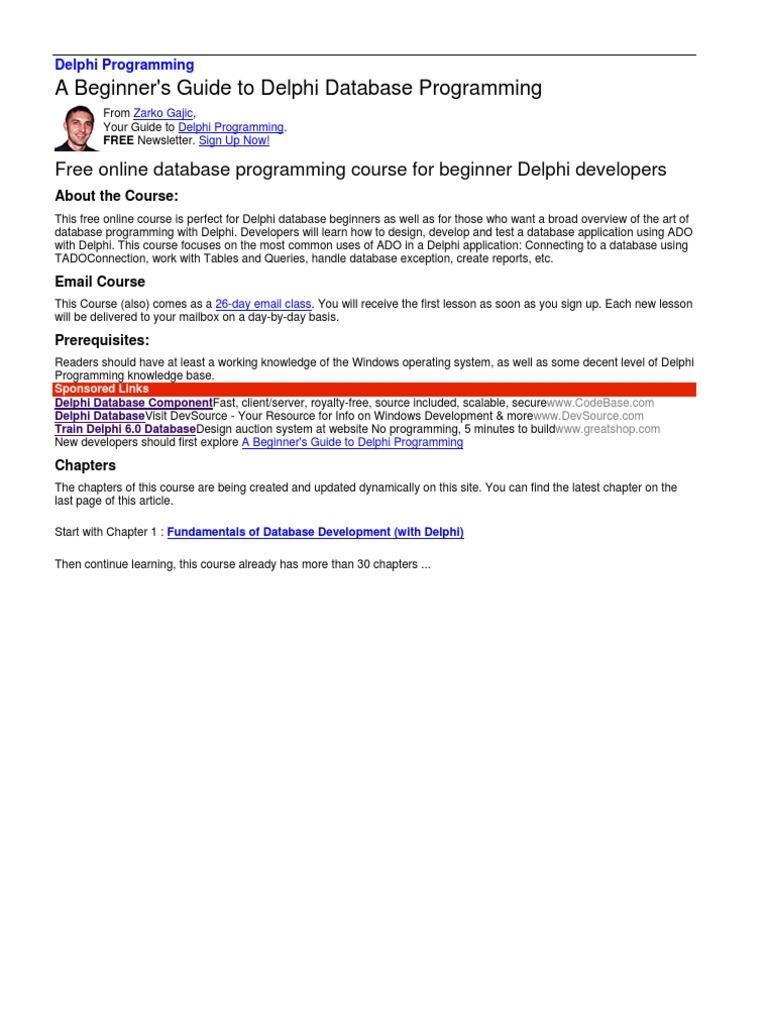 learn delphi ado microsoft access databases rh scribd com