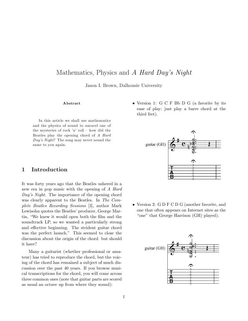 Brown Jason Math Physics And A Hard Days Night Pitch Music