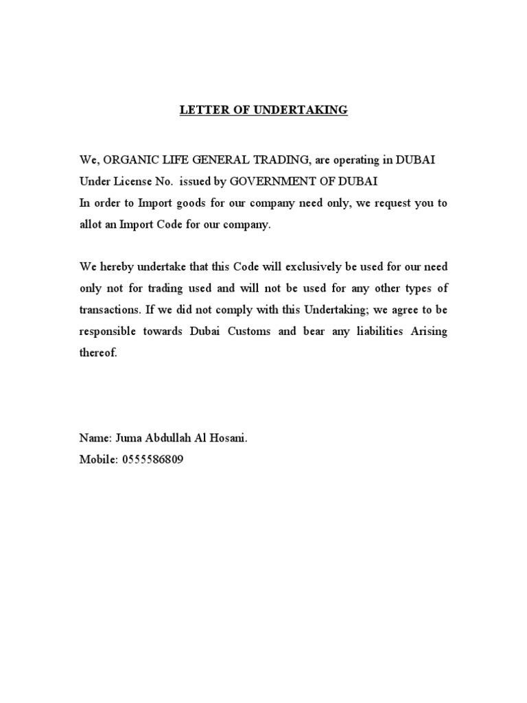 Download letter of undertaking for importer spiritdancerdesigns Gallery