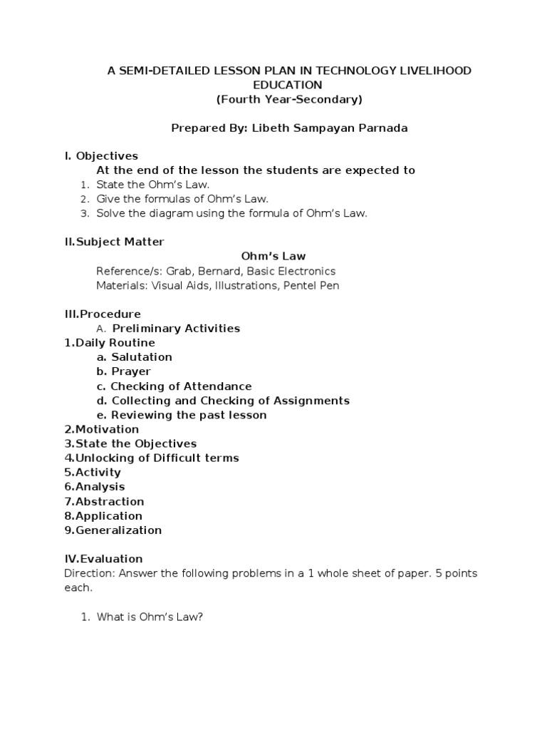 Workbooks home ec worksheets : SEMI DETAILED Lesson Plan Ohms Law