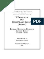 Wörterbuch des Burgenland-Romani Roman - Deutsch - Englisch