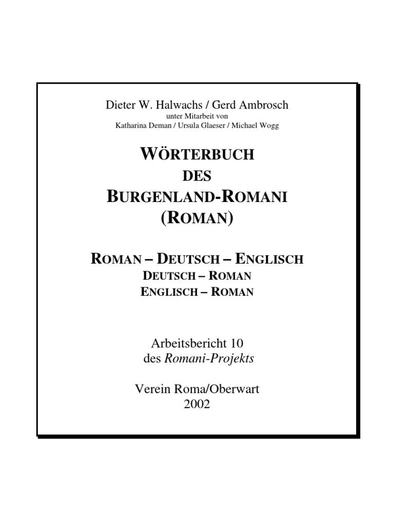 Wörterbuch des Burgenland-Romani Roman - Deutsch - Englisch   Business