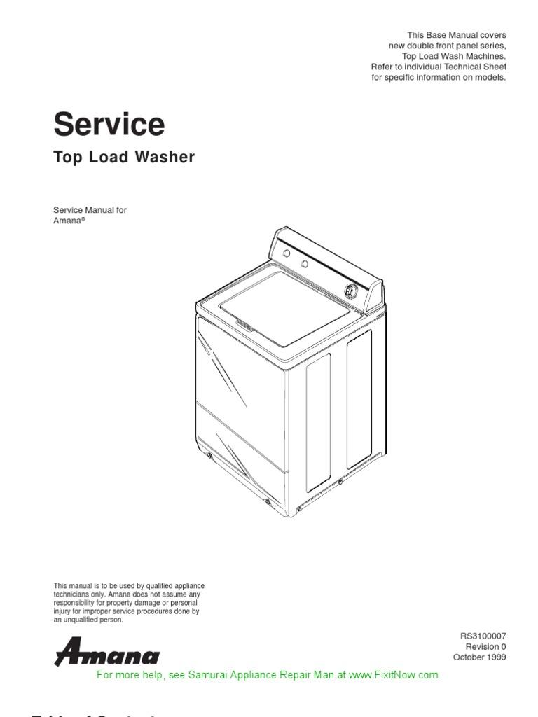 Amana Top Load Washer Service Manual | Washing Machine | Ac Power Plugs And  SocketsScribd