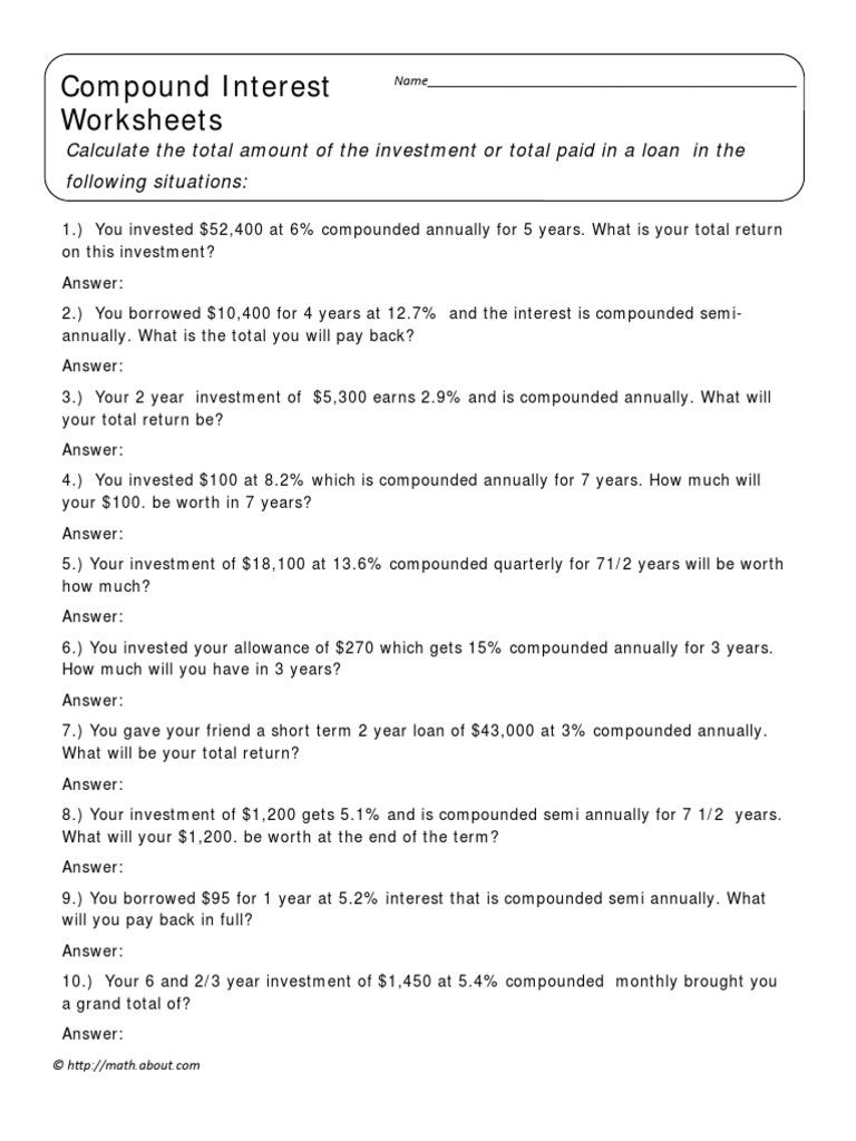 Uncategorized Compound Interest Worksheets compound interest worksheet 1 household behavior and family economics