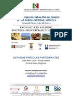 VINÍCOLAS PARTICIPANTES - SALERNO - Missão ao Rio de Janeiro