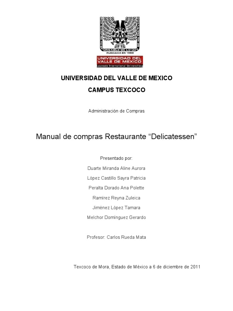 Manual de compras listo for Manual de compras de un restaurante pdf