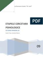 Etapele Cercetarii Psiho Project
