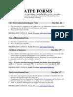 2009 NATPE Forms Due Dates