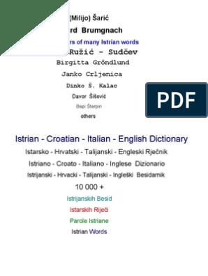 Italian English Croatian Istriano Dictionary wlOiTkZuPX
