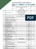 Bill of Electric Equipments of H.lamphan+H.kapheu