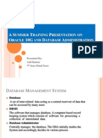 A Summer Training Presentation on Oracle 10G And
