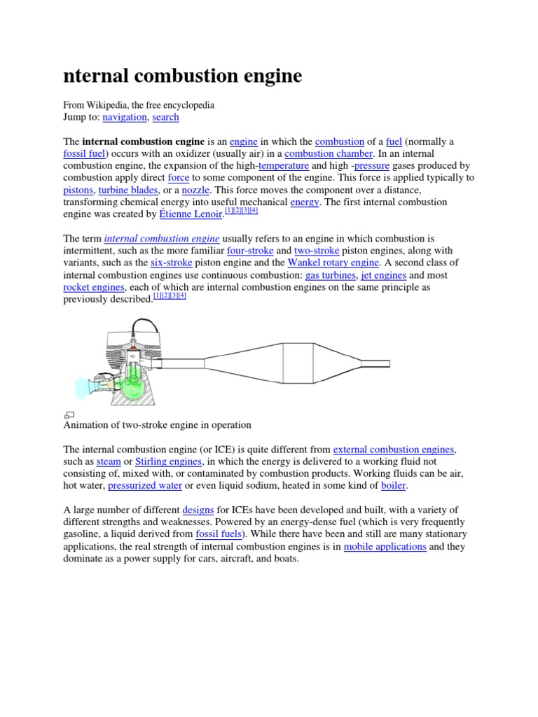 Design of an internal combustion engine: the principle of operation
