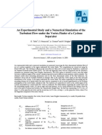 An-experimental-study and Numerical Simulation of the Turbulent Flow Under the Vortex Finder of a Cyclone Separator - Talbi - 2011