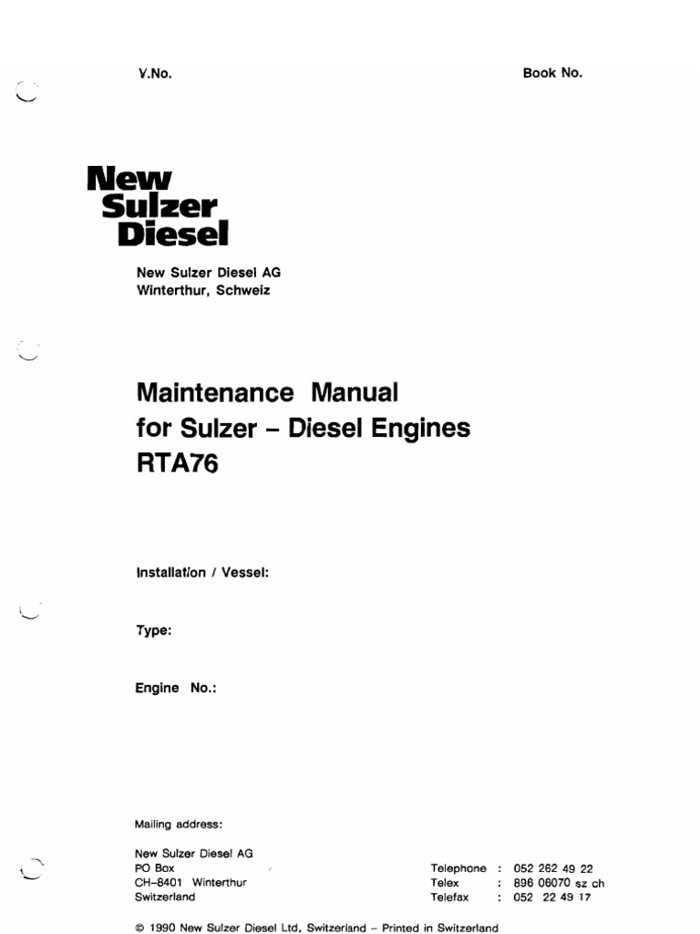Maintenance Manual for Sulzer Diesel Engines Rta76