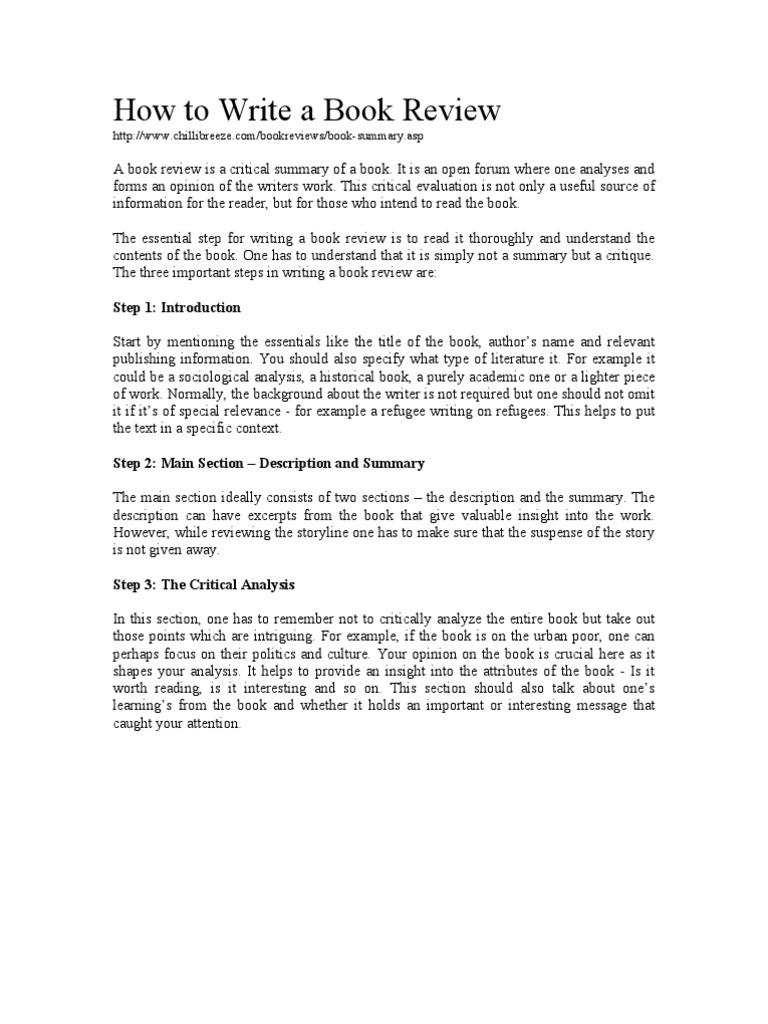 How To Write A Book Review  PDF  Books