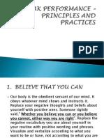 PEAK PERFORMANCE – PRINCIPLES AND PRACTICES