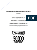 INFORME CRIMINALIZACION DE LA PROTESTA Organismos DDHH EMVJ Marzo 2012