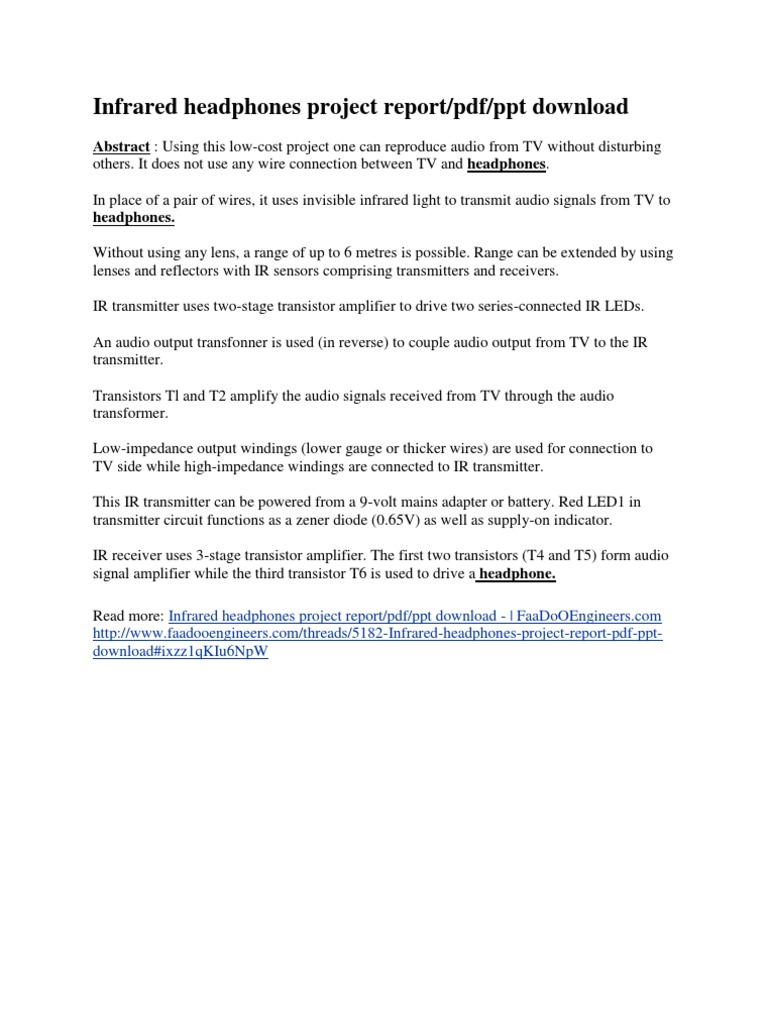 Infrared Headphones Project Report Amplifier Tv Transmitter Circuit