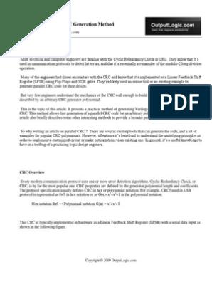 Parallel Crc Generator Whitepaper | Field Programmable Gate Array