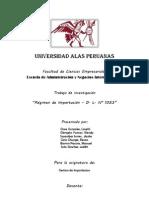 Regimenes Aduaneros en El Decreto Legislativo 1053
