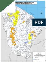 Mapa do Ceará das Áreas Degradadas Suceptíveis  a Desertificação