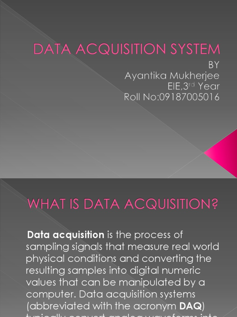 Data Acquisition And Trending : Data acquisition system ppt sampling signal processing