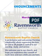 20 p. Ravensworth Baptist Church Announcements, 3/25/12