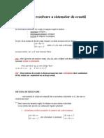 Metoda de Rezolvare a Sistemelor de Ecuatii