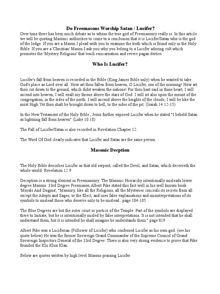 Do Free Masons Worship Satan Lucifer Lucifer Satan