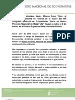 03-03-12 Informe de Cano Vélez como Presidente del Colegio Nacional de Economistas
