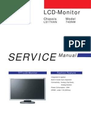 Samsung TFT-LCD Monitor 740NW Chassis LS17HAN Service Manual