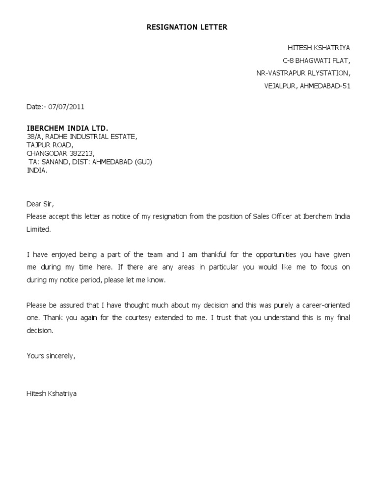 Resignation Letter Sample 1 | Communication | Business