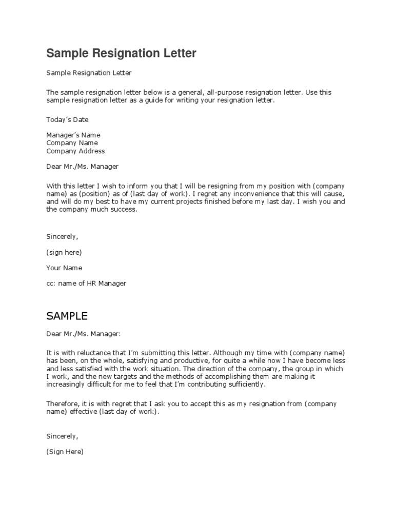 matter of resignation letter